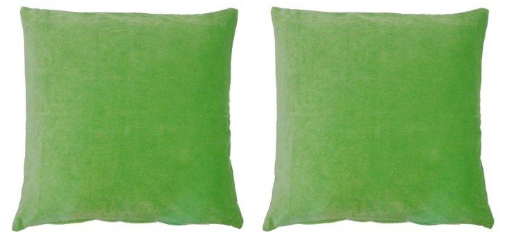 S/2 Nina 20x20 Velvet Pillows, Green