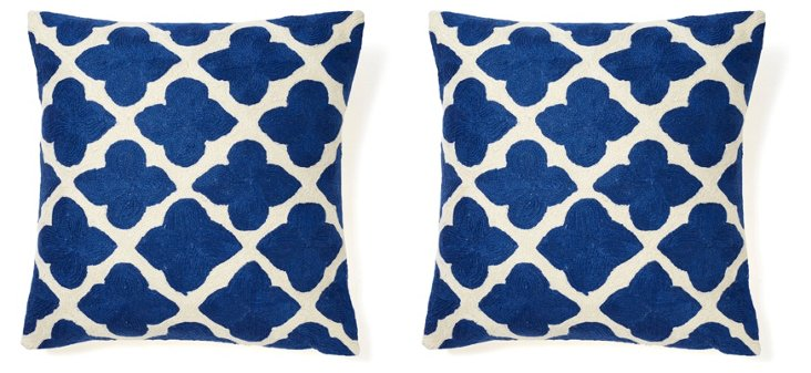 S/2 Lara 16x16 Embroidered Pillows, Blue