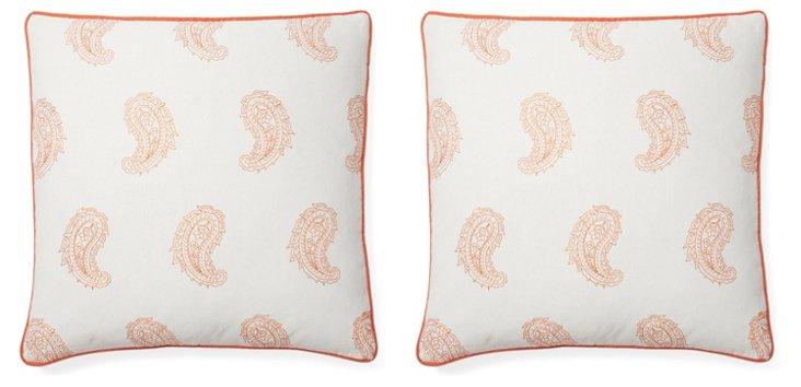 S/2 Angela 20x20 Cotton Pillows, Orange