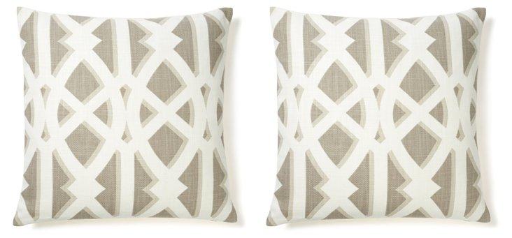 S/2 Criss 20x20 Cotton Pillows, Gray