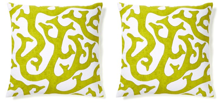 S/2 Reef 20x20 Cotton Pillows, Lime