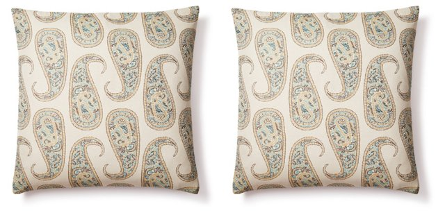 S/2 Paisley 20x20 Cotton Pillows, Multi