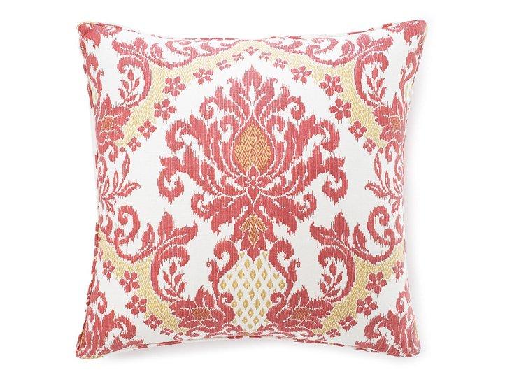 Ikat 26x26 Cotton Pillow, Coral