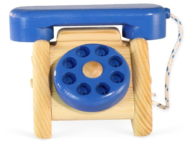 Wooden Telephone with Rotary Dial, Blue