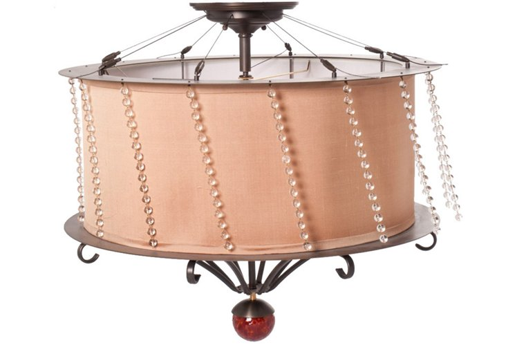 Iron & Silk Ceiling Light Fixture