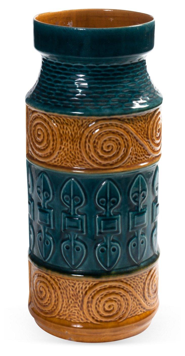 Mustard & Teal Ceramic Vase
