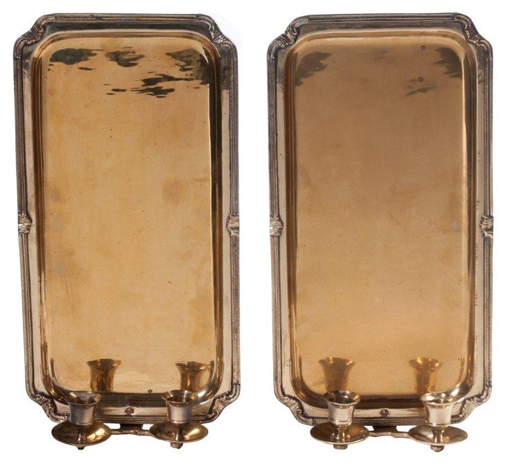 Dual-Arm Candle Sconces, Pair