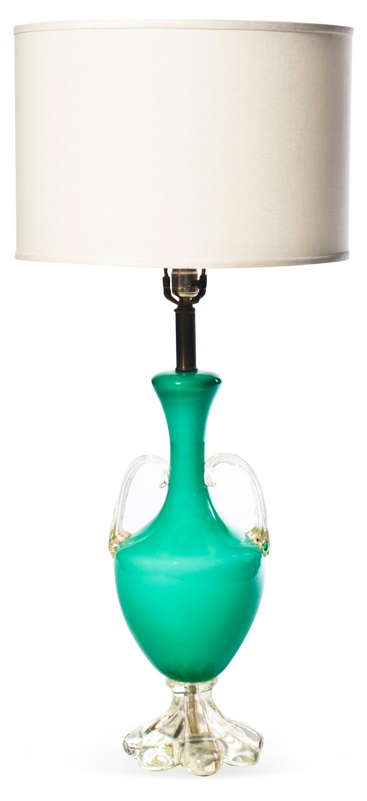 Green Glass Urn Table Lamp