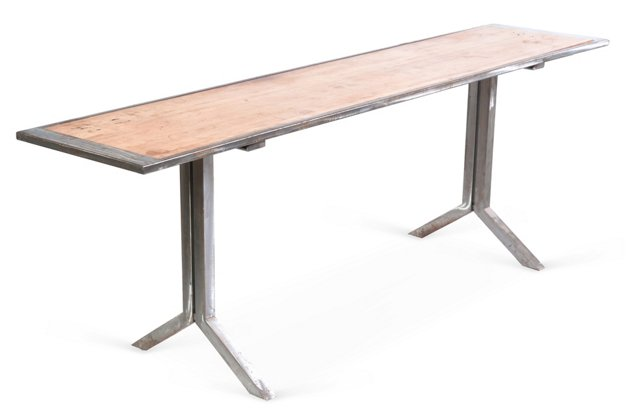 Rustic Metal Console w/ Wood Top