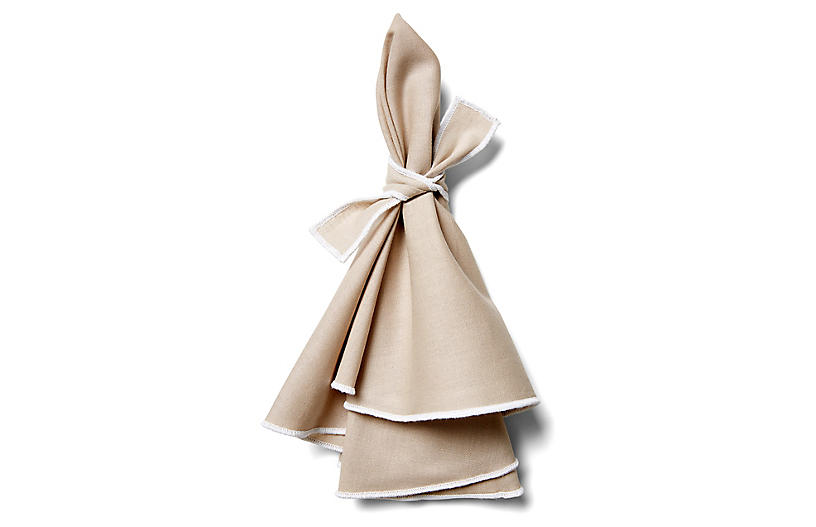 S/4 Napa Dinner Napkins, Beige/White