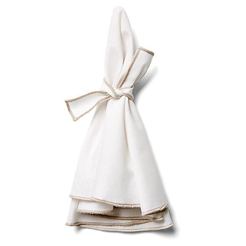 S/4 Napa Dinner Napkins, White/Beige