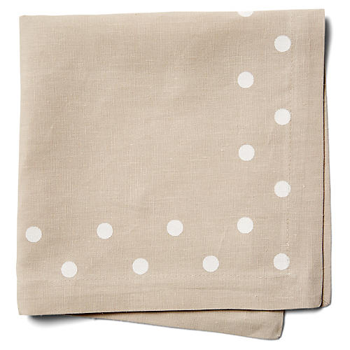 S/4 Belle Dinner Napkins, Beige/White