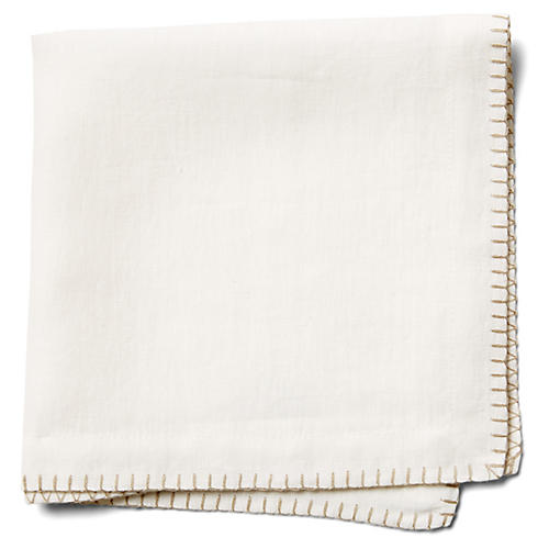 S/4 Bordeaux Dinner Napkins, White/Beige