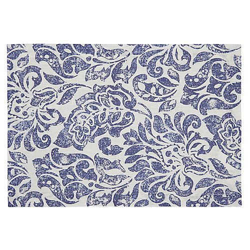 S/4 Santorini Place Mats, Blue/White