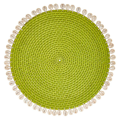 S/4 Shelby Place Mats, Green/Ivory