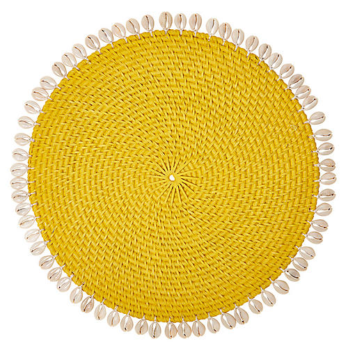 S/4 Shelby Place Mats, Yellow/Ivory