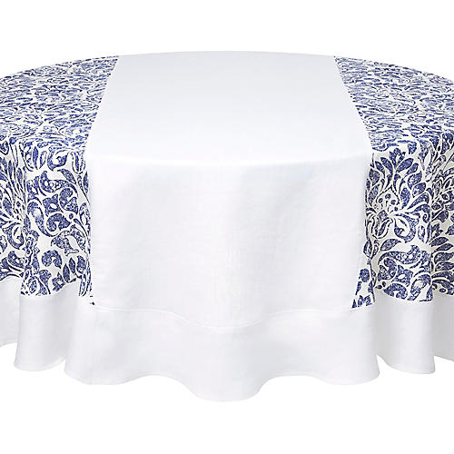 Santorini Round Tablecloth, Blue/White