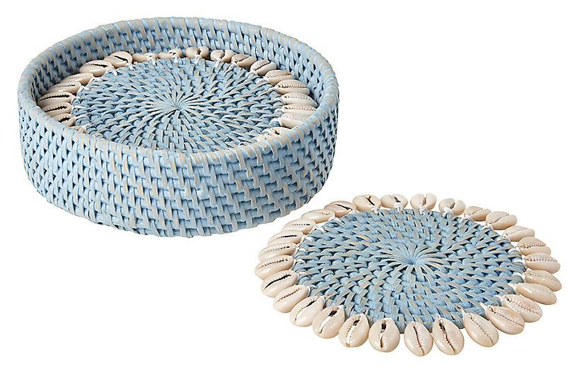 S/4 Shelby Coasters, Light Blue/Ivory