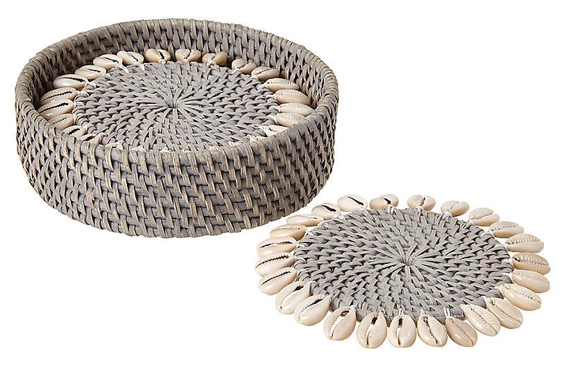 S/4 Shelby Coasters, Gray/Ivory
