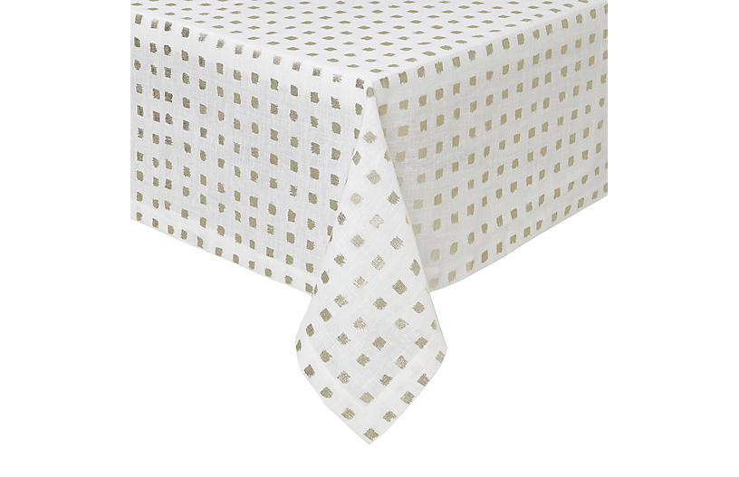 Antibes Tablecloth, White/Gold