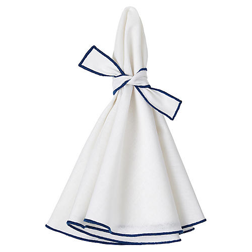 S/4 Napa Dinner Napkins, White/Blue