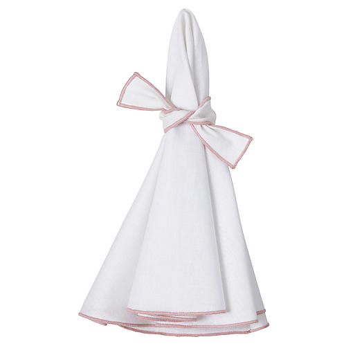 S/4 Napa Dinner Napkins, White/Pink