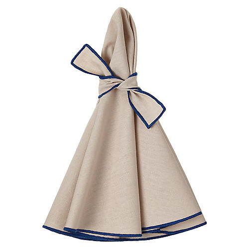 S/4 Napa Dinner Napkins, Beige/Blue