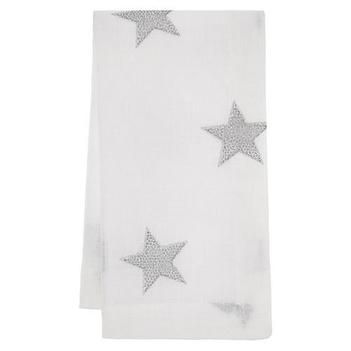 S/4 Starry Night Dinner Napkins, White/Silver
