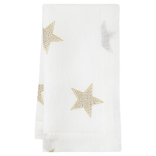 S/4 Starry Night Dinner Napkins, White/Gold