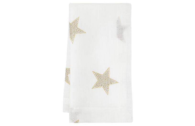 S/4 Starry Night Dinner Napkins, White/Gold