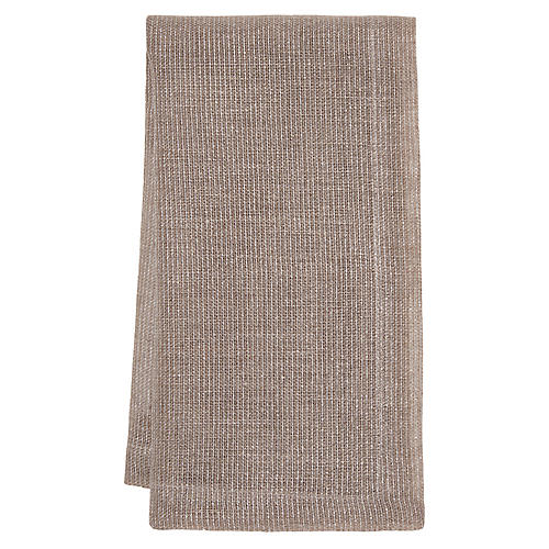 S/4 Venice Dinner Napkins, Taupe/Silver
