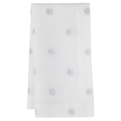 S/4 Vogue Dinner Napkins, White/Silver