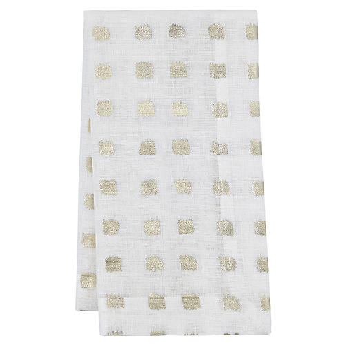 S/4 Antibes Dinner Napkins, White/Gold