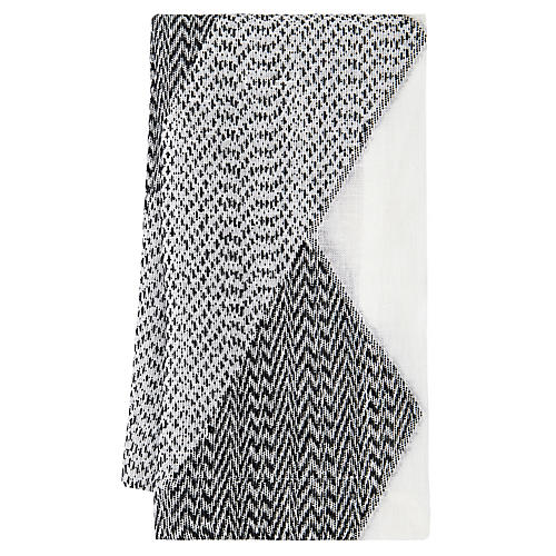 S/4 Chelsea Dinner Napkins, Black/White