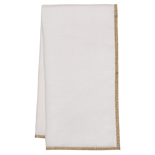 S/4 Bel-Air Dinner Napkins, White/Gold