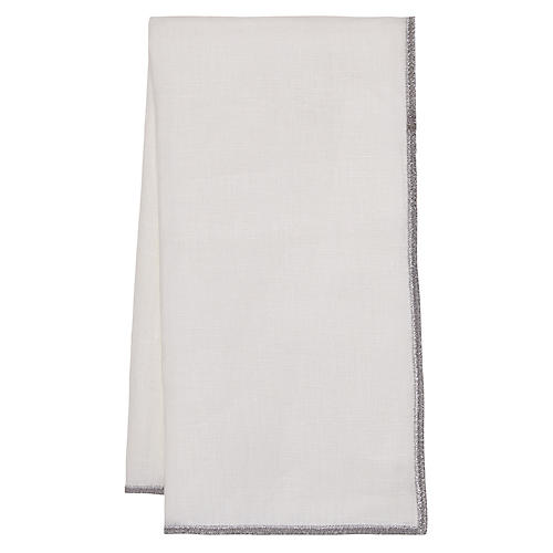 S/4 Bel-Air Dinner Napkins, White/Silver