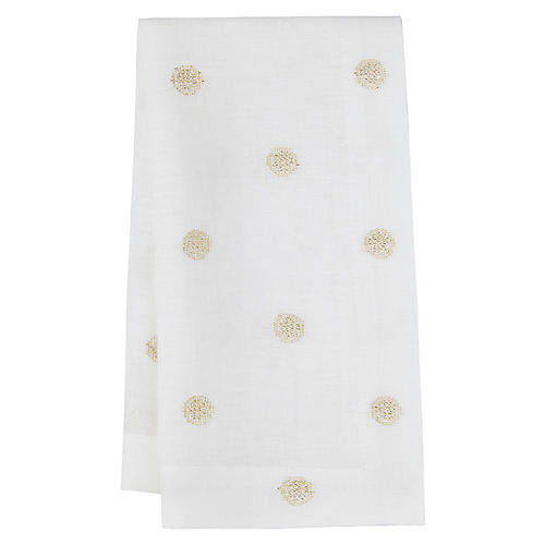 S/4 Vogue Dinner Napkins, White/Gold
