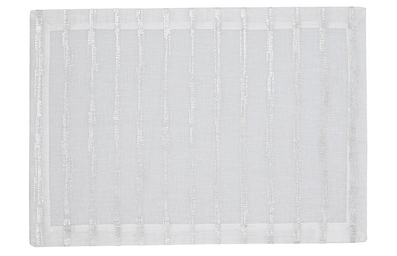 S/4 Cannes Place Mats, White/Silver