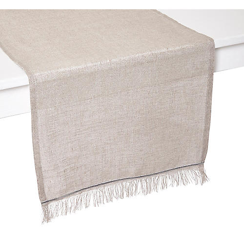 Venice Table Runner, Beige/Silver