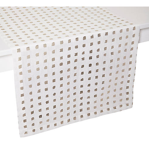 Antibes Table Runner, White/Gold