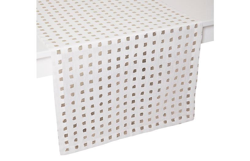 Antibes Table Runner, White/Gold