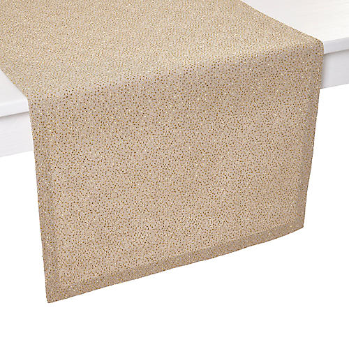 Bari Table Runner, Tan/Gold
