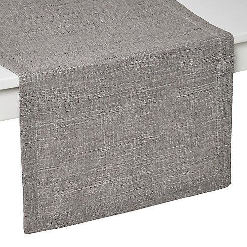 Tribeca Table Runner, Gray/Silver