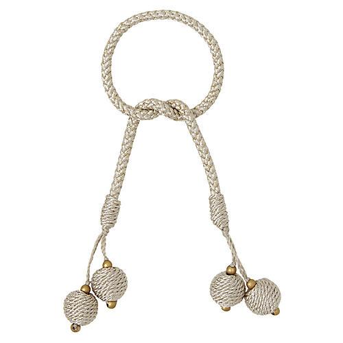 S/4 Porto Napkin Rings, Ivory/Silver