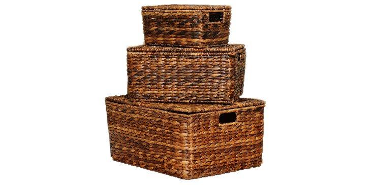 S/3 Nesting Baskets, Espresso