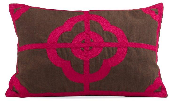 Small Anna Pillow, Brown/Hot Pink