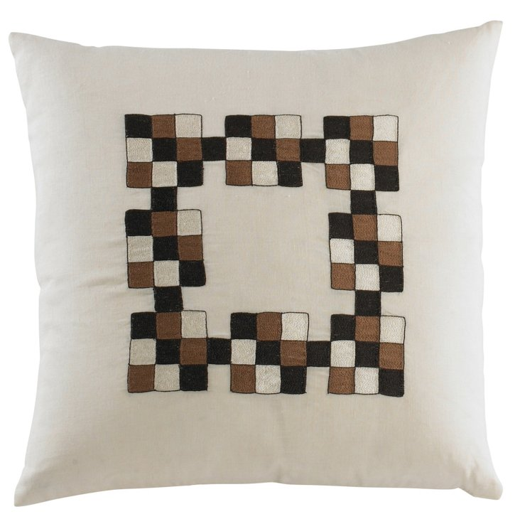 Medium Squared Pillow, Ivory/Brown