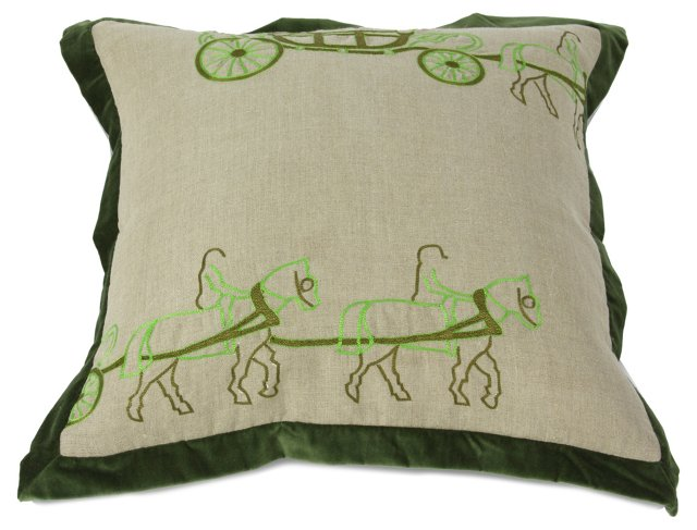 Two Horse Carriage Pillow, Green