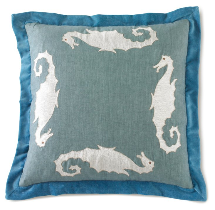 La Mer Pillow, Traditional Blue