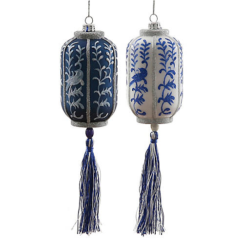 Chinese Lantern Ornaments, Blue/White/Silver